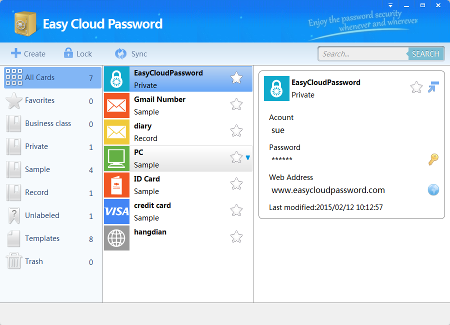 easy cloud password , pc , android